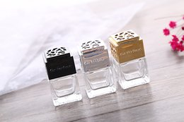 Wholesale Mini Thick Glass Bottle Empty Transparent Car Perfume Bottles Car Vents Glass Packaging Bottle Gold Black Silver For Choice