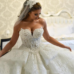 Strapless Full Skirted Wedding Dress Australia - Luxurious Full Lace Ball Gown Wedding Dresses Long Sweetheart Pearls Beaded Tiered Skirt Strapless Puffy Princess Church Castle Bridal Gowns