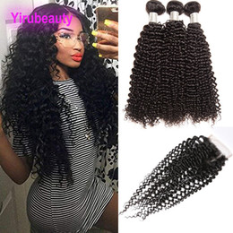 $enCountryForm.capitalKeyWord Australia - Brazilian Kinky Curly Cheap 3 Bundles With Lace Closure 4pieces lot Human Hair Extensions Kinky Curly Bundles With Free Middle Three Part
