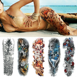 e7413de0e1418 48*17cm Sexy Wolf Full Flower Arm Temporary Tattoo Stickers For Men Women  Body Art Sleeve Tattoo Women Waterproof Tattoo