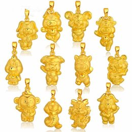 $enCountryForm.capitalKeyWord Australia - 3D hard gold jewelry, twelve zodiac pendants, imitation gold roosters, tigers, snakes, sheep, monkeys, chickens, dogs and pigs.