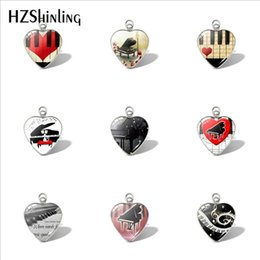 Hand Shaped Charms Australia - 2019 New Grand Piano Heart Pendant Music Piano Hand Craft Pendants Glass Cabochon Jewelry Women Heart Shaped Necklace
