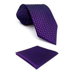 "Purple Tie Sets For Men Australia - F15 Purple Polka Dots Men's Necktie Set Classic Fashion Ties for male 63"" Hanky"