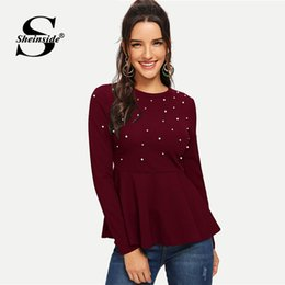 c4d1e212e94 Sheinside Pearls Beaded Elegant Blouse Peplum Top Red Ruffle Hem Ladies Tops  And Blouses 2018 Autumn Women Long Sleeve Shirts