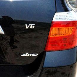 $enCountryForm.capitalKeyWord Australia - Metal Chrome 3D Displacement Emblem Badge Auto Motor Sticker Decal for V6 Engine Car Stickers AAA319