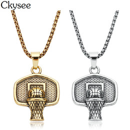 Wholesale Ckysee Mens Gold Basketball Basket Pendant Necklace Hip Hop Collares For Women Men Stainless Steel Chain Necklace Sport Jewelry