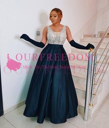$enCountryForm.capitalKeyWord Australia - 2020 Sparkly Sequins Beaded V Neck Evening Dresses Navy Blue Satin A Line Backless Floor Length Formal Occasion Prom Party Dresses Custom