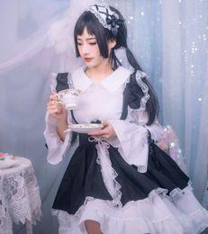 $enCountryForm.capitalKeyWord Australia - Black and white Lolita Gothic style maid costume cosplay costume Lolita dress women's black uniform cos