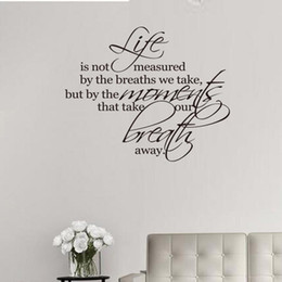 $enCountryForm.capitalKeyWord Australia - Life Is Not Measured By The Number of Breaths Wall Decal Vinyl Self-adhesive Family Quotes Wall Art Stickers for Living Room Home Decor