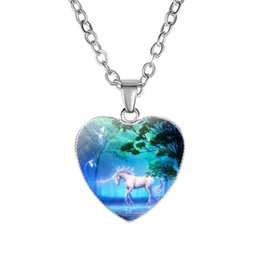 pegasus necklace wholesale NZ - Unicorn with wings Pendant Necklaces White Horse 20 mm Heart Glass Cabochon Gifts Link Chain Women Charm Jewelry Pegasus Necklace