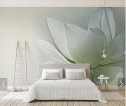 3d Art Paper Australia - 3D 8D Embossed Waterlily Flower Wall Mural Photo Wallpaper for Living Room Backdrop Wall Paper Roll Floral Art Murals
