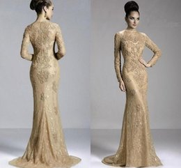 Mother Bride Dress Janique UK - Janique 2019 Champagne Mermaid Mother Of The Bride Dresses Full Lace Beads Long Sleeves Elegant Wedding Guest Party Dress Prom Evening Gowns