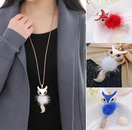 $enCountryForm.capitalKeyWord Australia - Hot sell Women's Rhinestone Feather Cute Fox Pendant Long statement necklaces & pendants W