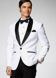 $enCountryForm.capitalKeyWord Australia - New Style Groom Suit Men Slim Fit Formal Wear Blazer Tuxedos White Jacket Black Pants 2pcs(Jacket+Pants+bow)