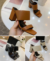 $enCountryForm.capitalKeyWord NZ - 2019 New Style Leather Slippers Designer High heeled sandals Women Sandals Heel height 7.5 insole sheepskin Coarse heel Sandal Slipper Shoes