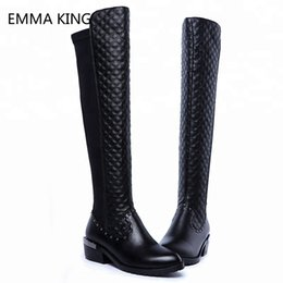 Wholesale New Cowhide Upper Gird Pattern PU Stretch Knee High Boots Woman Fabric Rubber Middle Heeled Long Lady Thigh Shoes