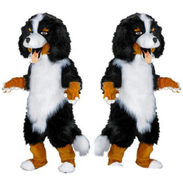 black white movie costume UK - design Custom White & Black Sheep Dog Mascot Costume Cartoon Character Fancy Dress for party supply Adult Size olome