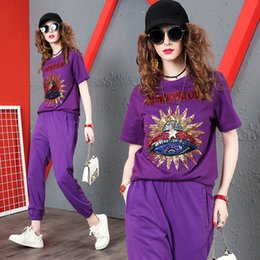 Young Girl Shirts Australia - Fashion Sequins T-shirt+pant Womens Two Piece Set Hot Sale Cotton Young Girl Sets Casual Sport Suit Quality Tees Pants