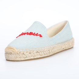 $enCountryForm.capitalKeyWord Australia - DZYM 2019 Summer Embroider Letter Women Fishemen Shoes Flax Canvas Espadrilles Cool Design Loafers Weaving Breathable Flats
