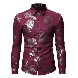 wine sleeves NZ - Mens Rose Gold Stamped Shirt Lapel Slim Long Sleeve Large Size Shirt Wine Red Wedding Dress Shirts Floral Party