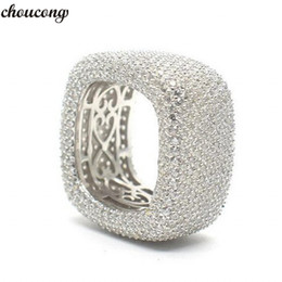 $enCountryForm.capitalKeyWord Australia - choucong Handmade Hollow Finger Ring 925 sterling Silver Micro pave 450Pcs 5A cz Wedding Band Rings For Women Men Jewelry