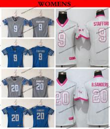 fa9398892 Womens Detroit Ladies Lions 9 Matthew Stafford 20 Barry Sanders Football  Jerseys Cheap Girls Stitched Shirts S-XXL