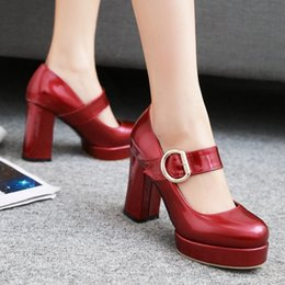 high heels big platform NZ - Lapolaka Big Size 32-48 Women Mary Jane Shoes woman Vintage Thick High Heels Platform Pumps Party Wedding Prom Footwear