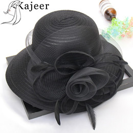 white floppy hats NZ - Kajeer Summer Hats for Women Solid Satin Feather Floral Wide Brim Sun Hats Ladies Floppy for Flower Party Dress