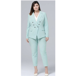 $enCountryForm.capitalKeyWord NZ - Casual 2 Piece Mint Women Pants Suit Double Breasted Blazer Long Sleeve Business Formal Set Ladies Party Outfit Plus Size
