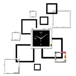 Vente en gros 2019 Salon Nouvelle Horloge Murale 3d DIY Horloges Décoration de La Maison Montre Horloge Murale Quartz Acrylique Miroir Autocollants