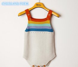 $enCountryForm.capitalKeyWord Australia - Newborn Romper Girls Clothes Rainbow Woolen Knitted Rompers Summer Infant Baby Boys Jumpsuit OverallsMX190912