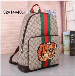 0137c7ef6e0 Students Backpack men Women Shoulder Bag Designer Rucksack Fashion Unisex  stripe Bags Embroidery Tiger head Handbags Knapsack Travel Bags