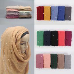 Solid Cotton Shawl Australia - M MISM Ethnic Oversize Muslim Crinkle Hijab Head Scarf Women Solid Bubble Cotton Shawls And Wraps Soft Big Pearl Foulard Femme