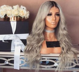 lace wig tools Australia - fashion tool Body Wave Heat Resistant Hair Ash Gray Lace Front Wig Middle Part Glueless Synthetic Wigs for Black Women FZP167