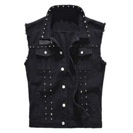 $enCountryForm.capitalKeyWord UK - Male Motorcycle Jacket Sleeveless Denim Vest Men's Punk Rock Style Rivet Cowboy Black Jeans Waistcoat Raw Edge Tanks