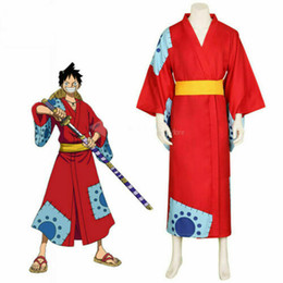 Wholesale one piece luffy cosplay for sale - Group buy ONE PIECE Wano Country Monkey D Luffy Cosplay Costume Outfit Kimono