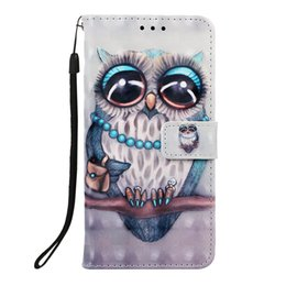 leather case for samsung galaxy NZ - 2019 Grey owl Dream catching 3D painted PU leather wallet phone case for Samsung Galaxy A60 S10 5G Sony Xperia L3