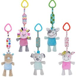 baby grasping rattles 2019 - Cartoon Plush Animal Rattle Bell Stroller Baby Cart Hanging Wind Chimes Musical Hand Shaker Grasping Educational Toys ch