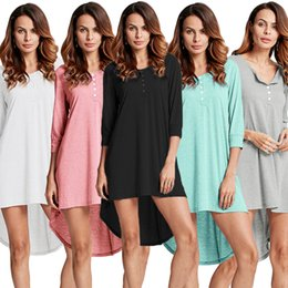 Plus Size Irregular Hem Dress NZ - 5XL Plus Size T-shirt Dress Spring Fashion Women Basic Long Tshirt Top Button Front O Neck Long Sleeve Irregular Hem Mini Dress