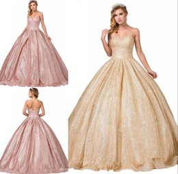 $enCountryForm.capitalKeyWord Australia - Sparky Gold Rose Pink Sequins Ball Gown Prom Quinceanera Dresses Sweetheart Corset Back Sweet 16 Formal Pageant Dress Lace Bodice Cheap