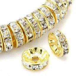 100pcs rotondo rondelle branelli del distanziatore del distanziatore del rhinestone placcato oro tono bianco chiaro cristallo ceco branelli allentati per il braccialetto fai da te monili che fanno in Offerta
