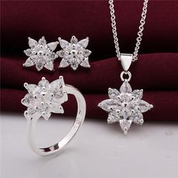 $enCountryForm.capitalKeyWord Australia - 925 Sterling Silver Jewelry Set beautiful flower pendant necklace & earrings & rings with Zircon Christmas send his wife   girlfriend gift