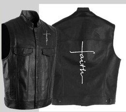 Discount motorcycle vests - Business Volvo Jacket Belief Leather Vest Vest Black Motorcycle Hip Hop Leather Men's Sleeveless Top