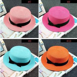 Flat Summer Straw Hat Australia - Man Women Straw Hat Summer Beach Hats Children And Adult Size Flat Top Straw Hat Men Boater Hats Flat Bowler Hat Free Shipping