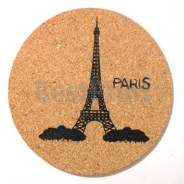 Chinese  9MM DIA round shaped single color logo custom printed soft cork coaster with specific design offered manufacturers