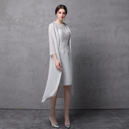 Wholesale sliver jacket resale online - Elegant Sliver Two Piece Mother of the Bride Groom Dresses With Long Jacket Sleeves Sheer Neck Lace Evening Formal Gowns Cheap New