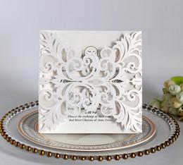 White Invitations Cards Australia - New 2019 Wedding Invitation Cards Hollow Solid White Blue Glitter Invitations Pocket Square Laser Cut Invitations Cards