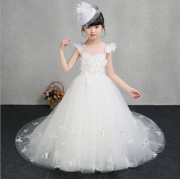 Discount chiffon christmas evening dresses 2020 New Long Trailing Applique Girl Wedding Dresses White Tulle Birthday Party First communion Gown Kids Evening Formal