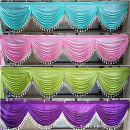 Custom Wedding Backdrops NZ - Custom Made 6 meter length wedding backdrop Swag Ice Silk 20ft party drape with tassel many color swag wedding decoration