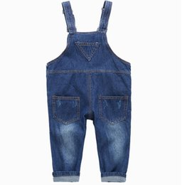 crystal blue flare Canada - 2020 New Arrival spring Girls Boys Denim Overalls Button Fly Overalls for Girls Boys Solid Blue Children Jumpsuit Overalls1-8Y